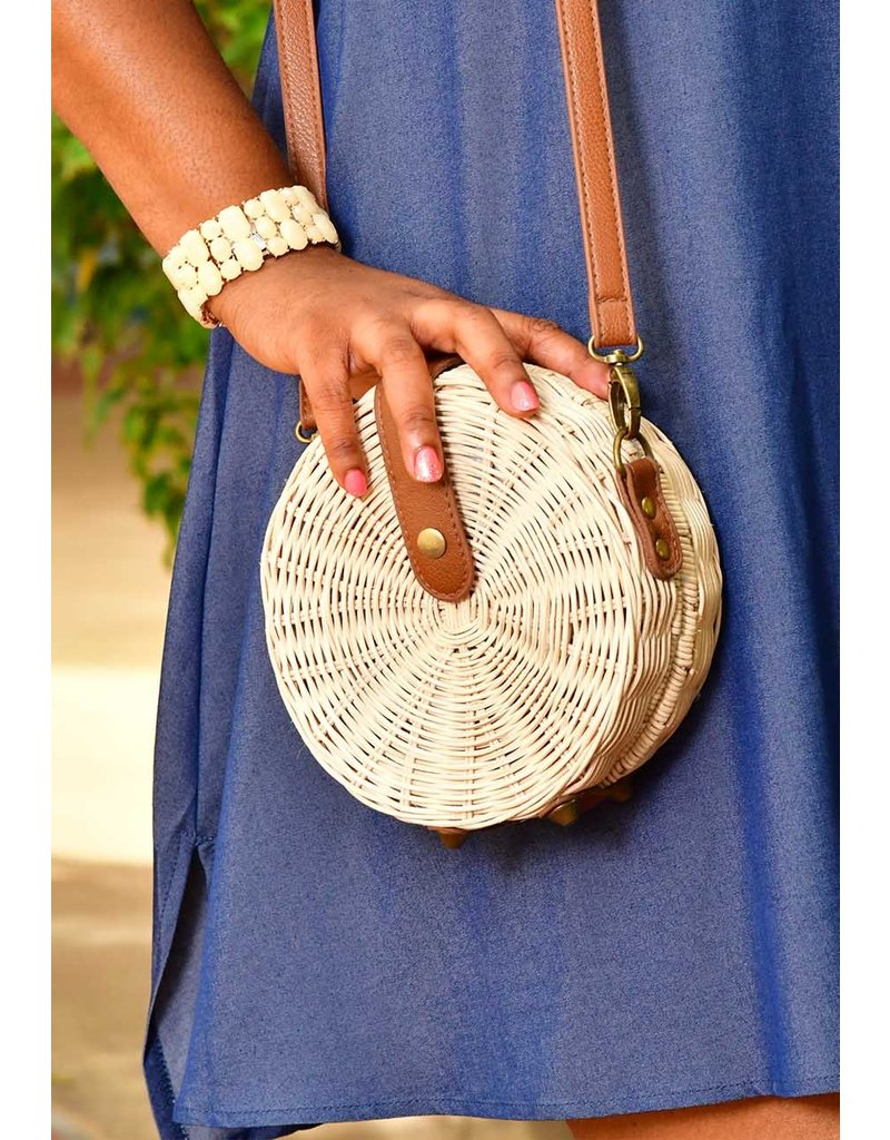 GETS Circular Hard Straw Bag