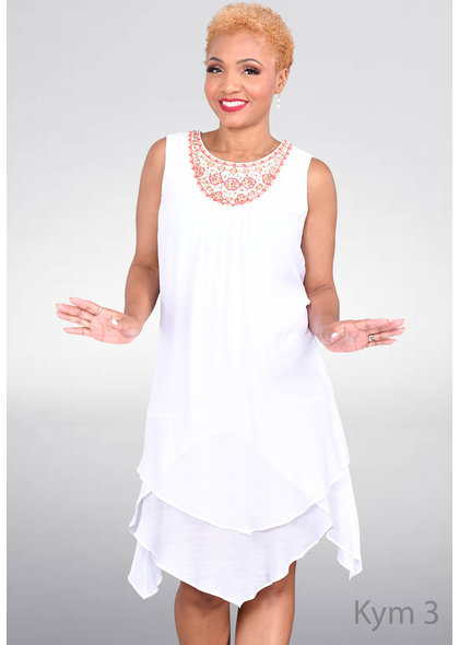 KYM- Embroidered Dress with Pointed Bottom