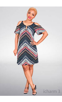 ICHARM- Printed Cold Shoulder Cut Out Dress