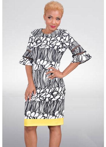 RELANA- Printed three quarter Sleeve Dress