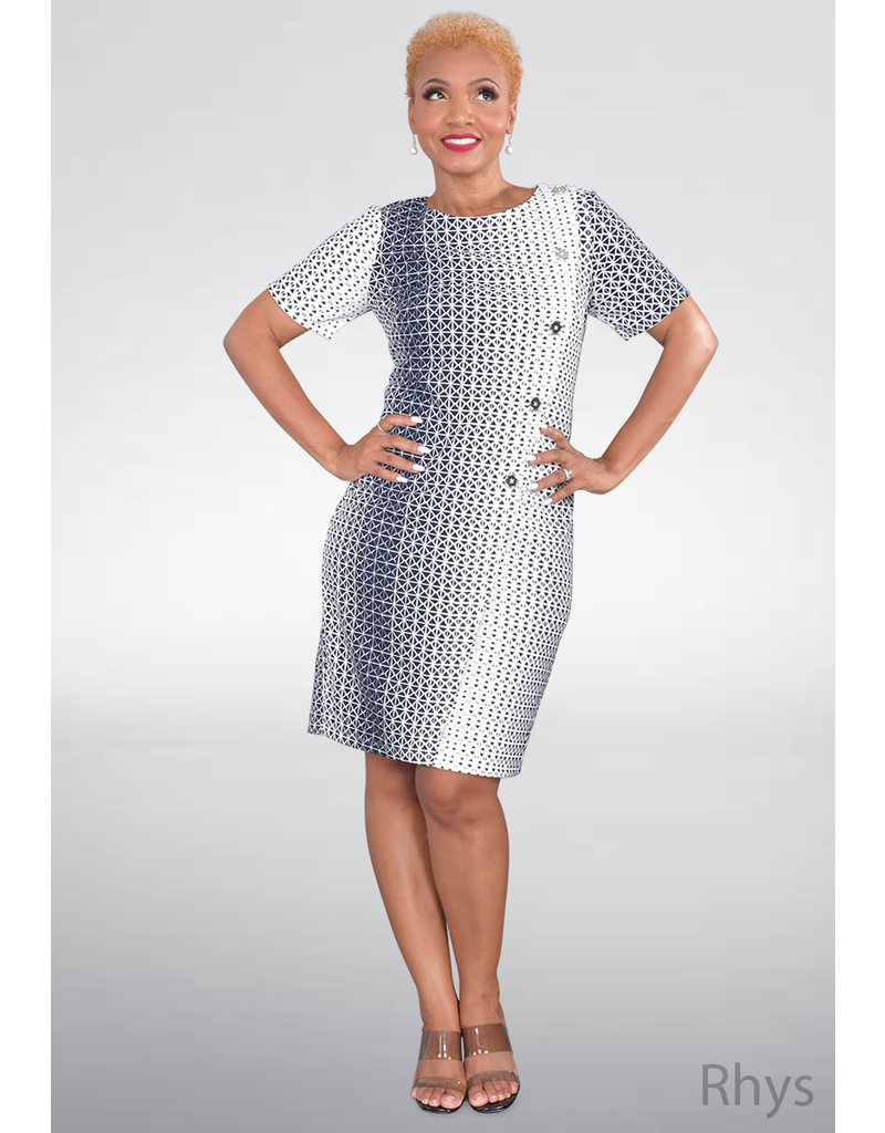 RHYS- Printed Dress with Diagonal Buttons
