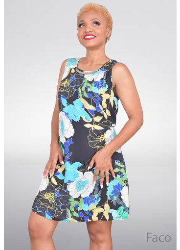 A U W FACO- Sleeveless Floral Print Dress
