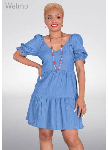 WELMO- Jeans Short Sleeve Dress