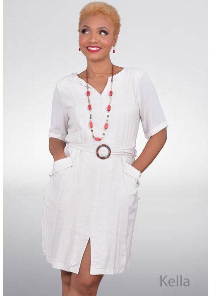 KELLA- Split Neck Dress with Sleeves