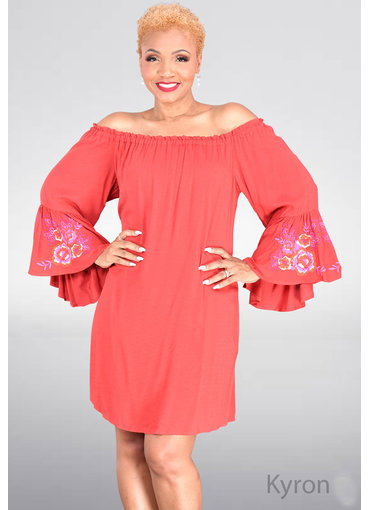 KYRON- Three Quarter Sleeves Dress with Floral Embroidery