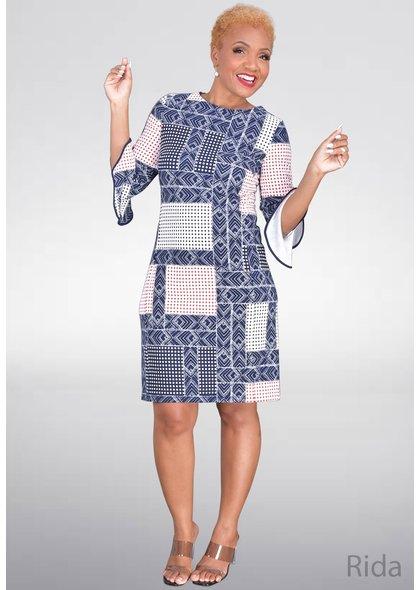 RIDA- Three quarter Sleeve Print Dress