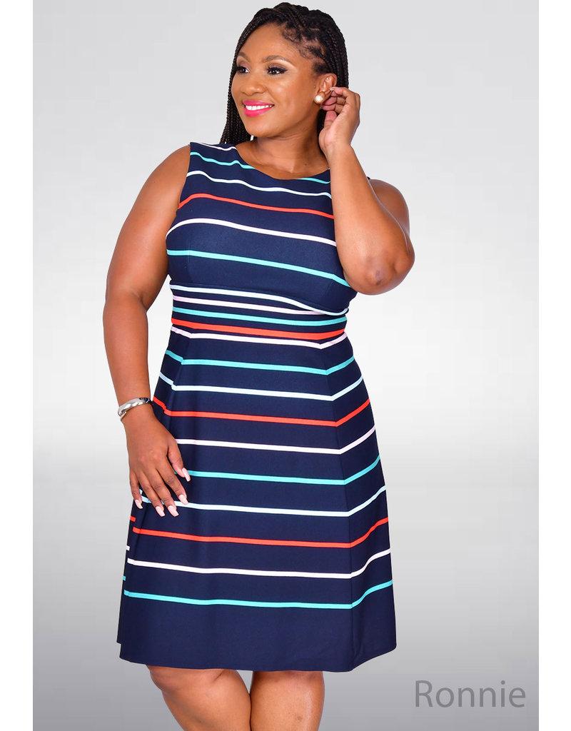 Sandra Darren RONNIE- Striped Fit and  Flare Dress