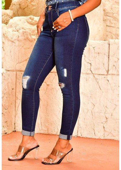 Royalty ZERR- High Waist Cut-Out Jeans Pants