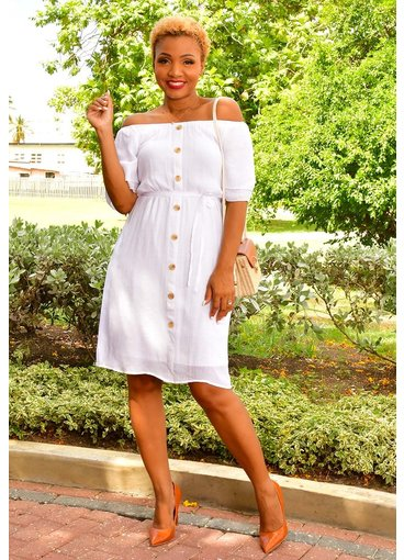MLLE Gabrielle GADIA- Frill Sleeve Dress with Buttons