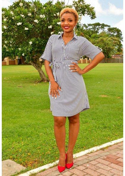 MLLE Gabrielle IRONA-Striped Shirt Dress