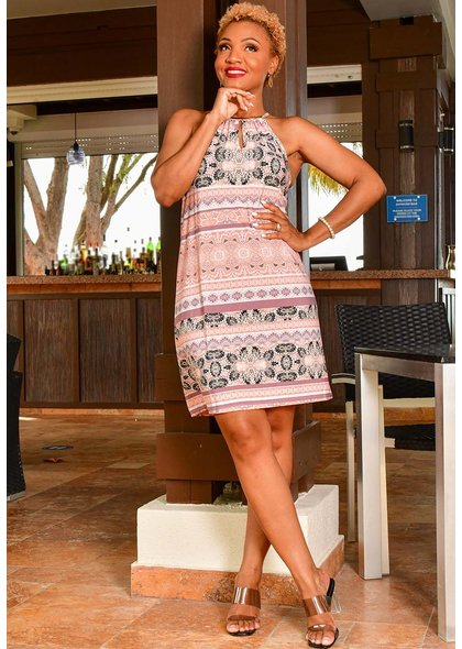 A U W ILAMI- Printed Halter Dress