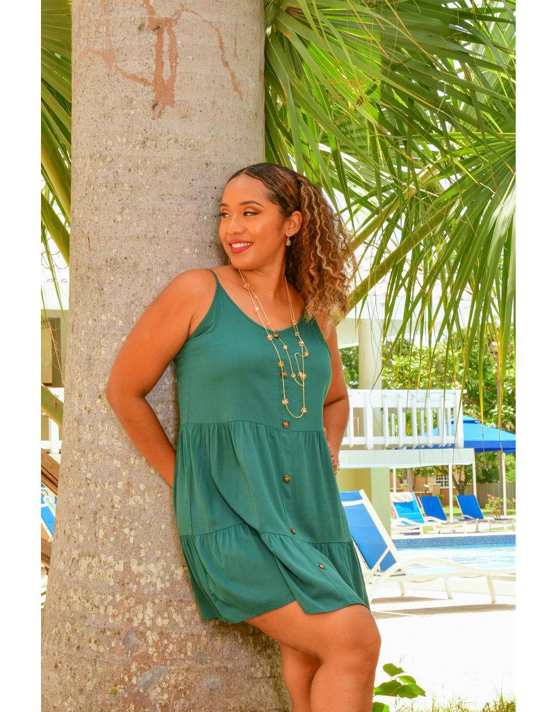 ARIA KENTI- Button Front Ruffle Hem Cami Dress