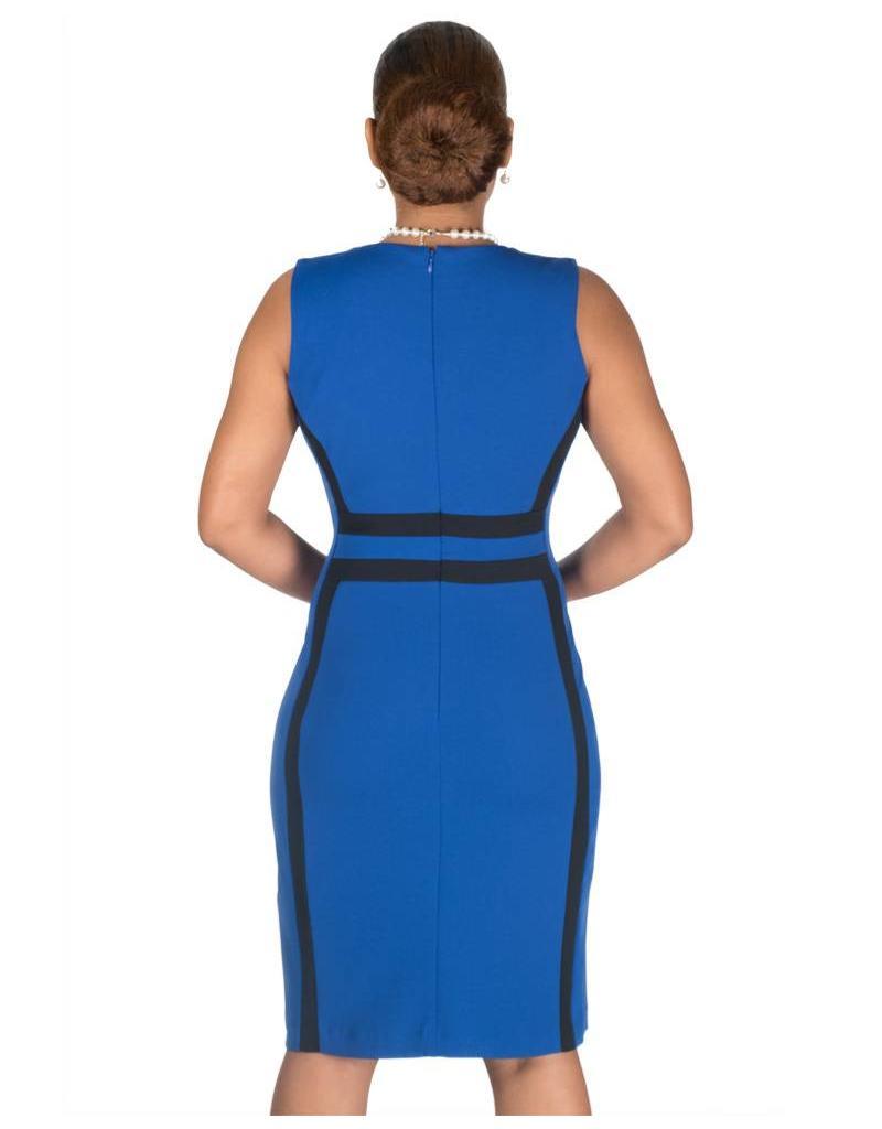 Shelby & Palmer Colour Blocked Sheath Broad Strap Dress