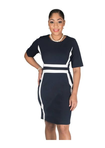 Shelby & Palmer Three Quarter r Sleeve Colour Blocked Sheath Dress