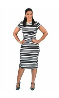 Shelby & Palmer Short Sleeve Multi Striped Sheath Dress