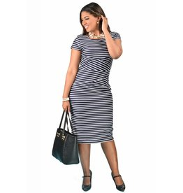 Shelby & Palmer Short Sleeve Print Embossed Striped Dress