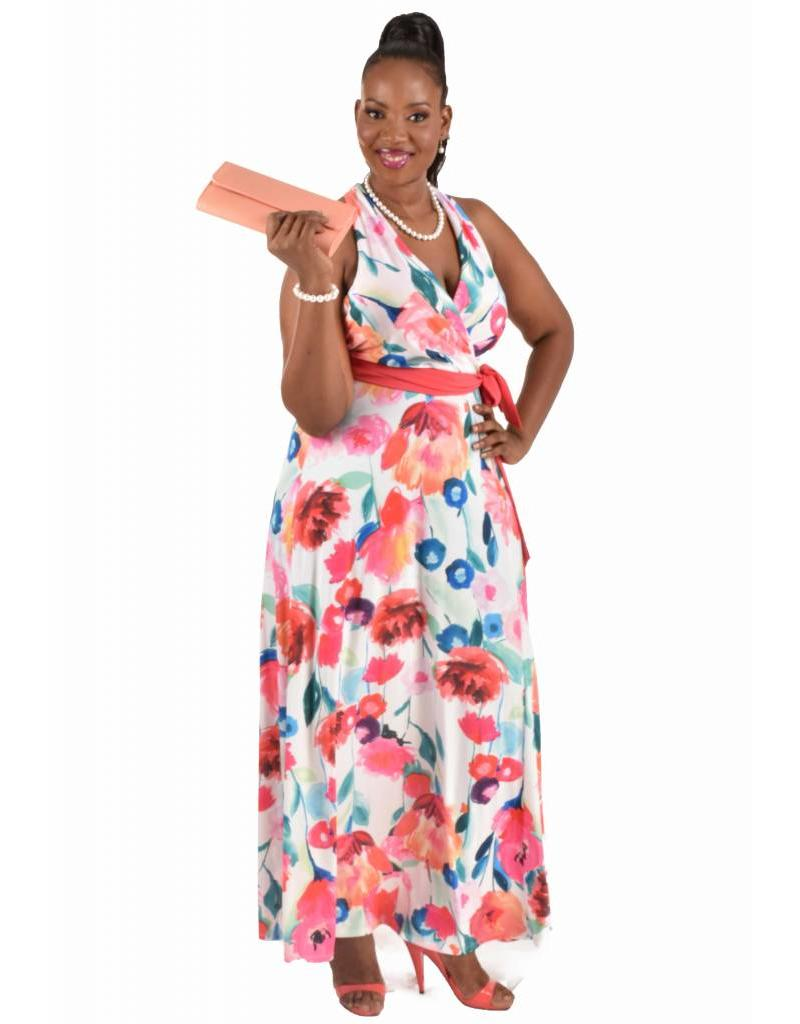 Leslie fay Printed Full Length ITY Dress with Sash