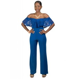 Off-the-Shoulder Jumpsuit with Applique Top