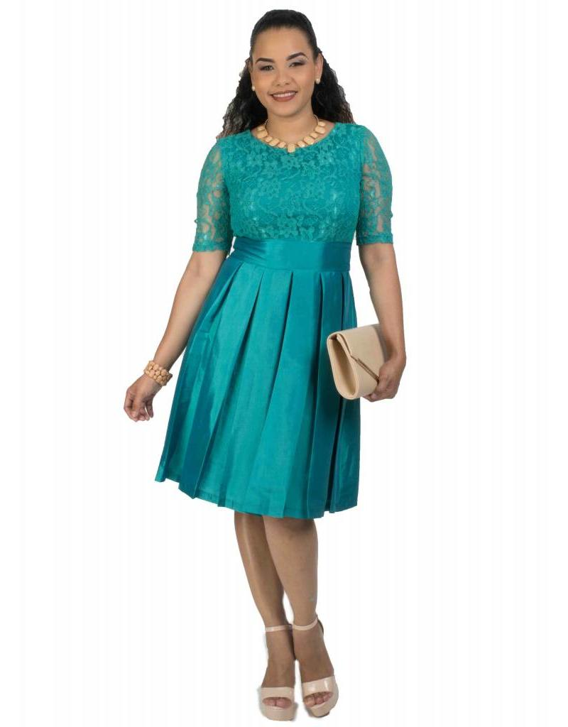 Lace Top Fit and Flare 3/4 Sleeve Dress