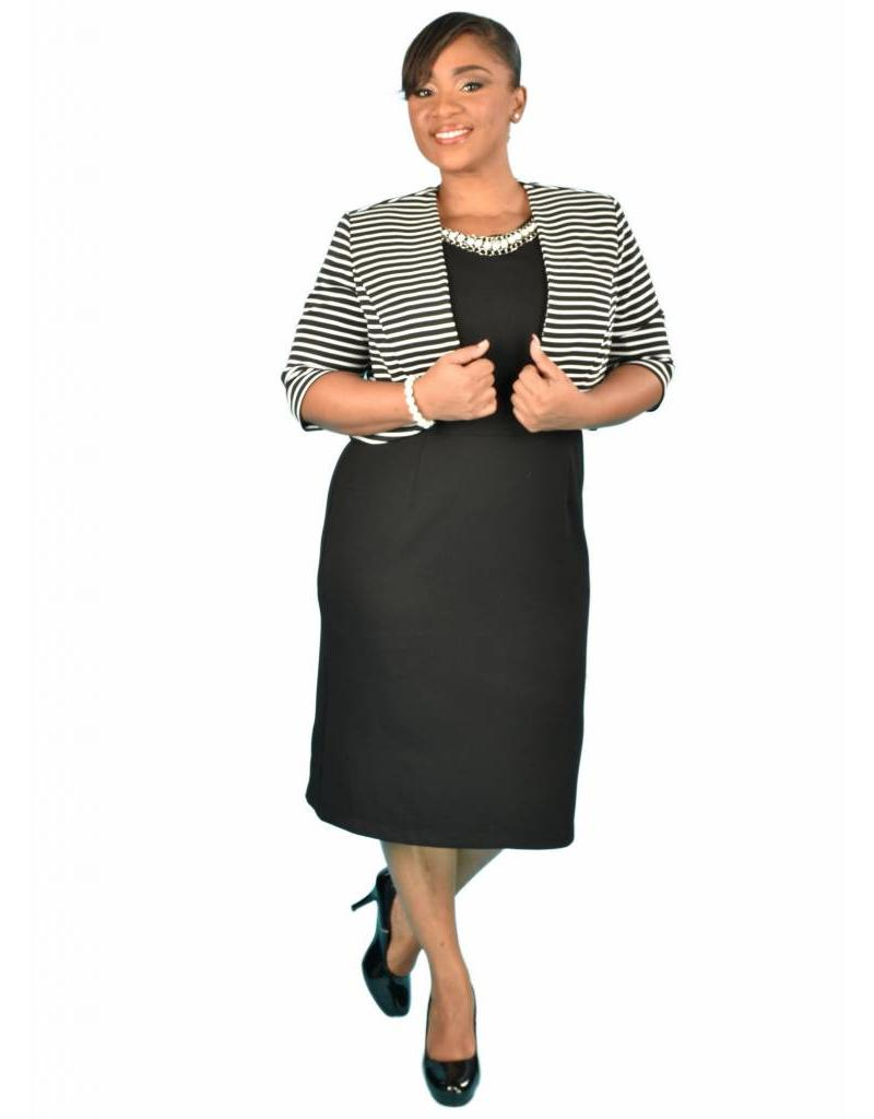 Three Quarter Sleeve Jacket with Striped Dress