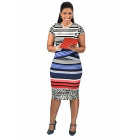 Shelby & Palmer Striped Short Sleeve Sheath Dress