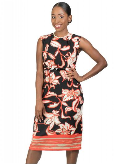 Voir Printed Sheath Dress with Belt