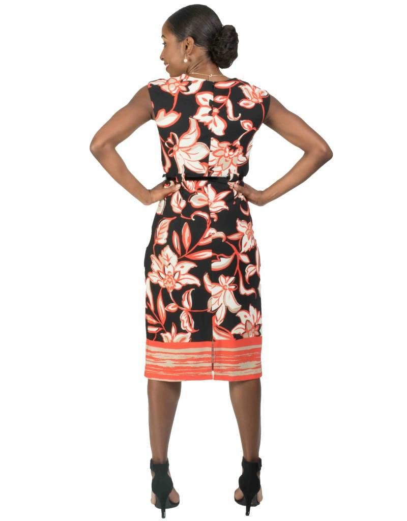 Voir Printed Sheath Dress with Belt