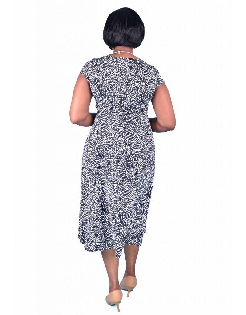 Printed Sheath Dress - Runched at Waist