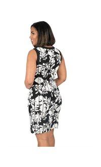 Printed Armhole Keyhole Dress