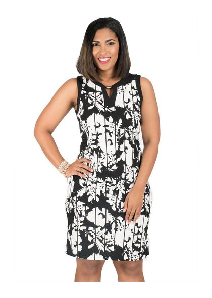 Printed Armhole Keyhole Dress