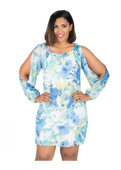Printed Cold Shoulder Chiffon Shift Dress