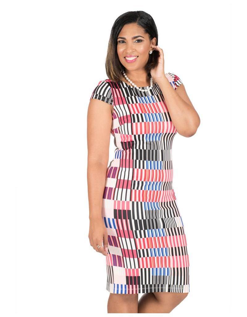 Carol Wren Printed Sheath Dress with Vertical Lines