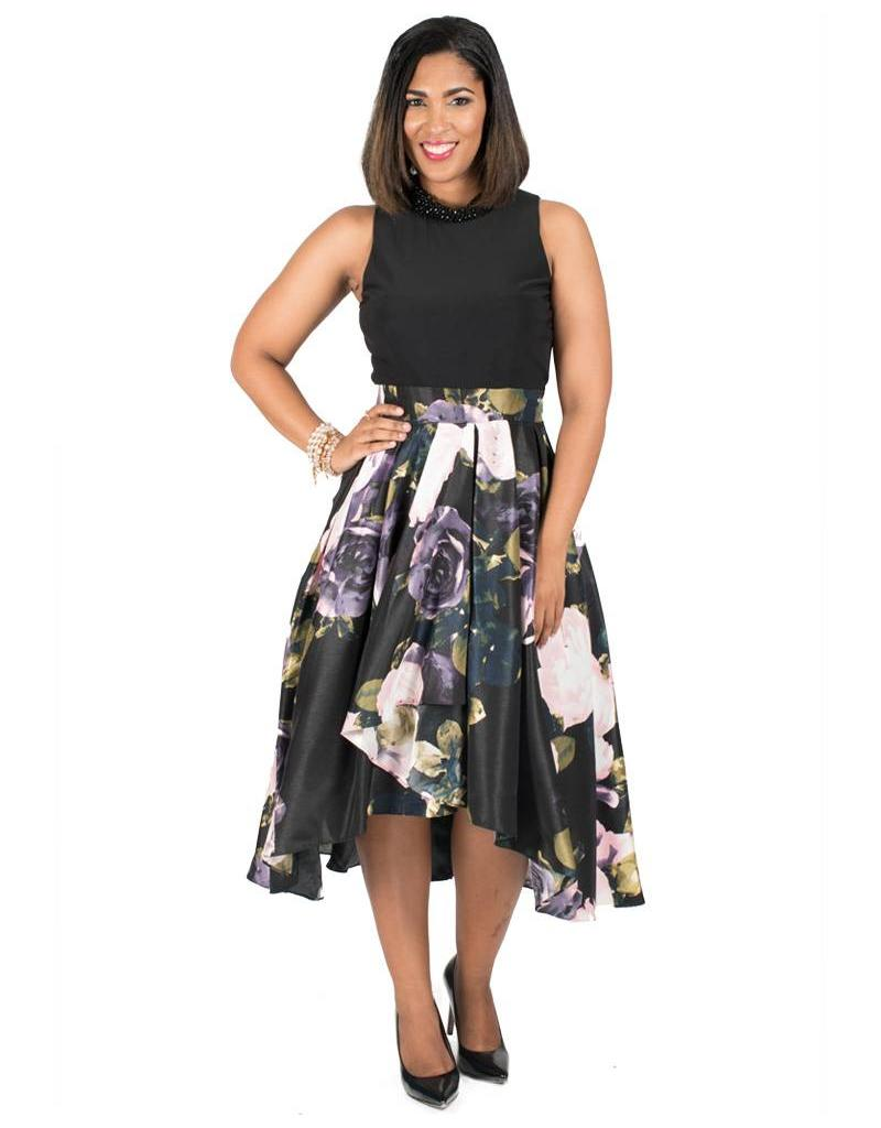 Hi-Low Printed Dress with Jewelled Collar
