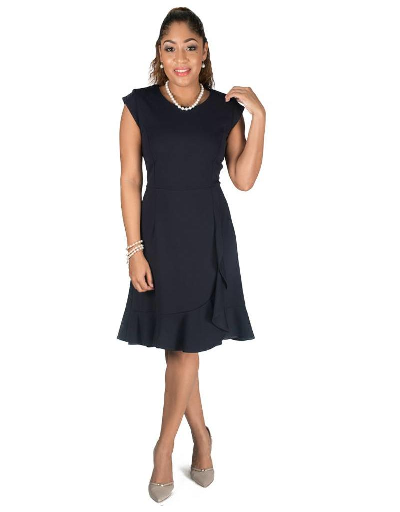 Shelby & Palmer Cap Sleeve Faux Wrap Dress with Cascading Ruffle