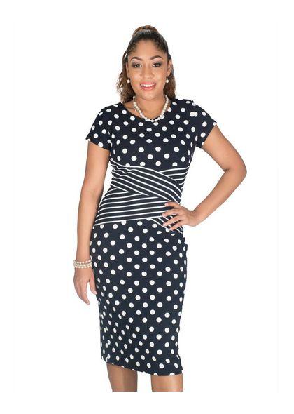Shelby & Palmer Polka Dot Sheath Dress with Crisscross at Waist