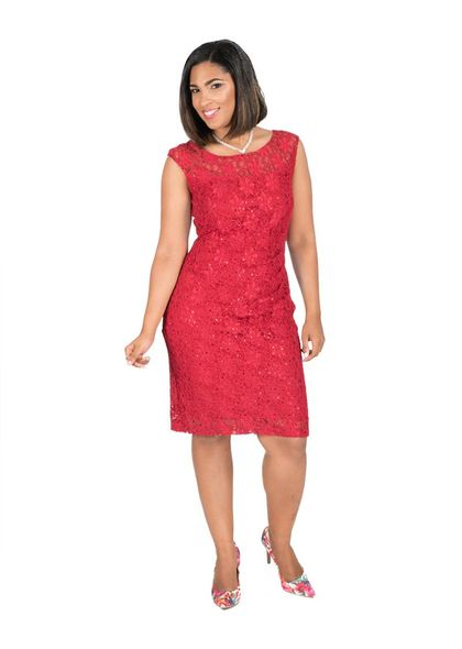 Lace Overlay Dress with Gathers at Waist