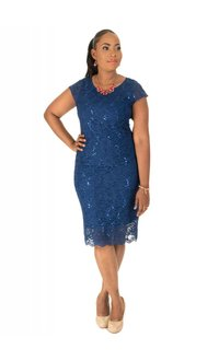 Lace Cap Sleeve Dress with Keyhole at Back