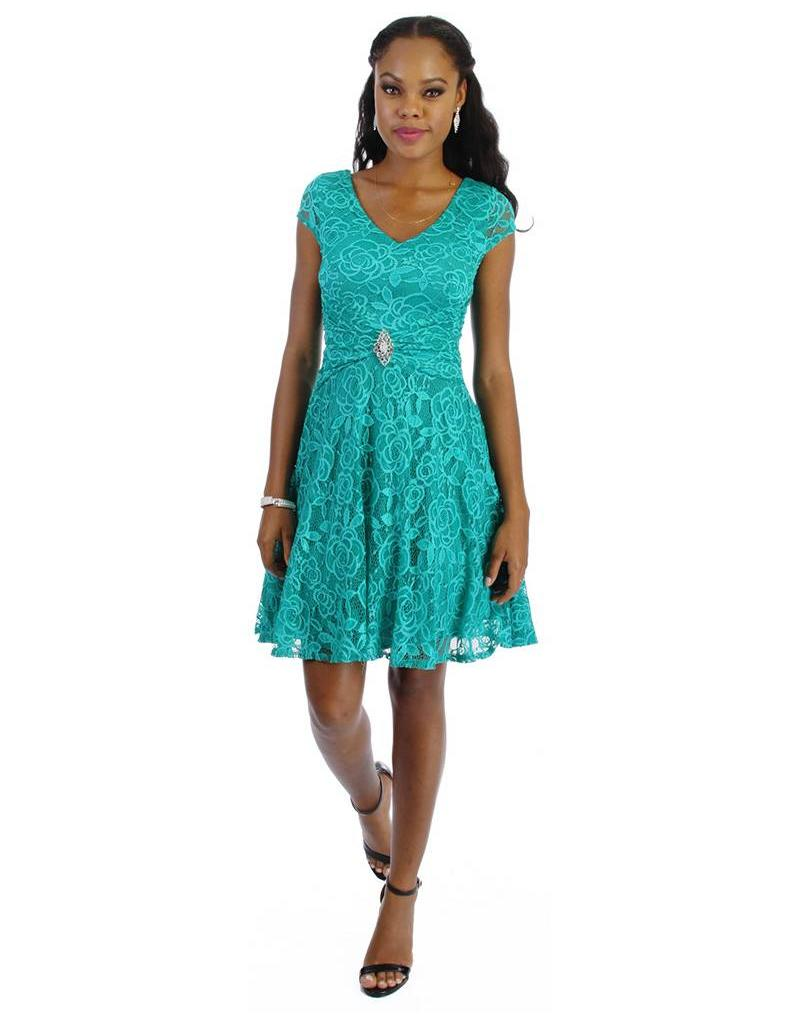 Cap Sleeve All Over Lace Dress with Brooch