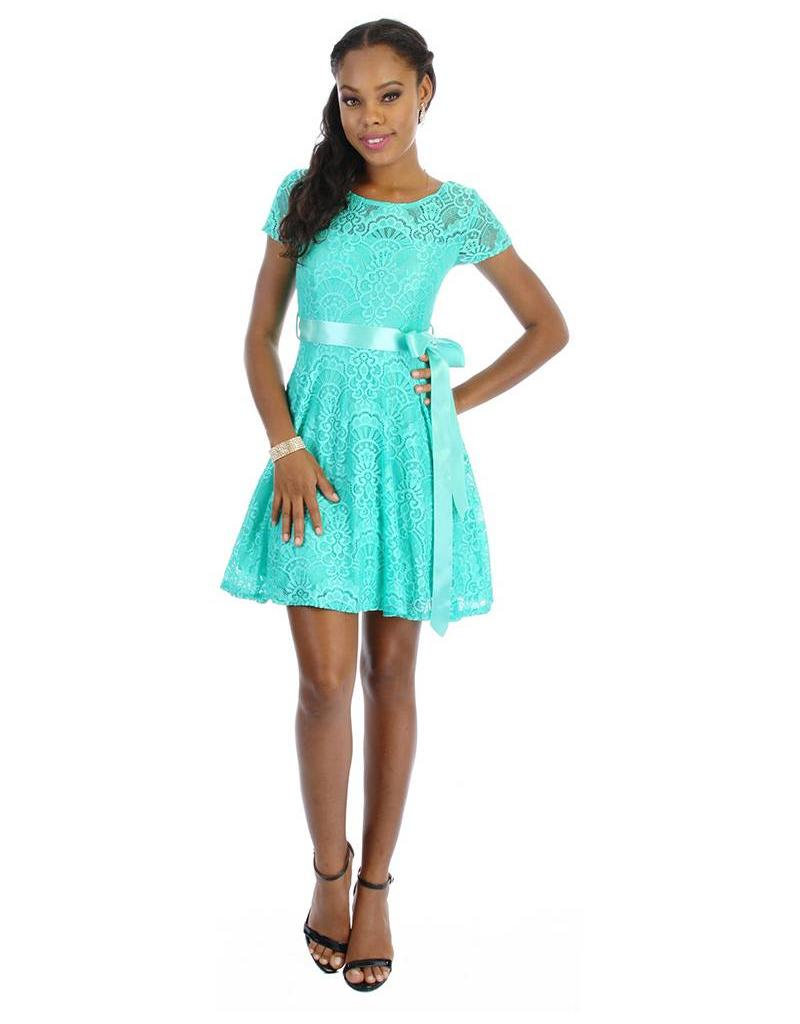 Short Sleeve Lace Dress with Hand Tied Ribbon