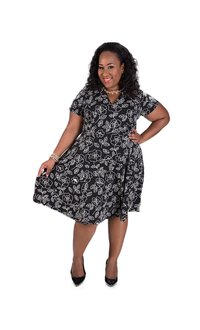 Robbie B Plus Size Rose Printed Shirt Dress