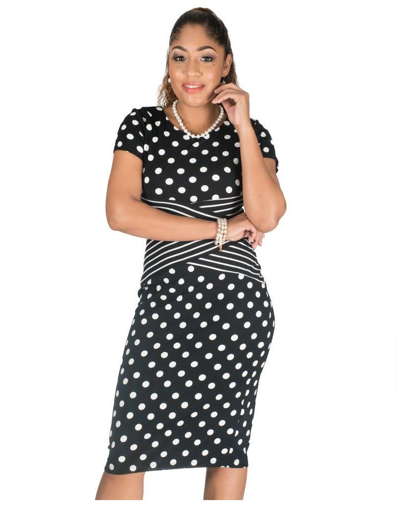 Shelby & Palmer Polka Dot Sheath Dress with Crisscross at Waist