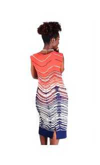 Printed Sleeveless Dress With Neck Pleats