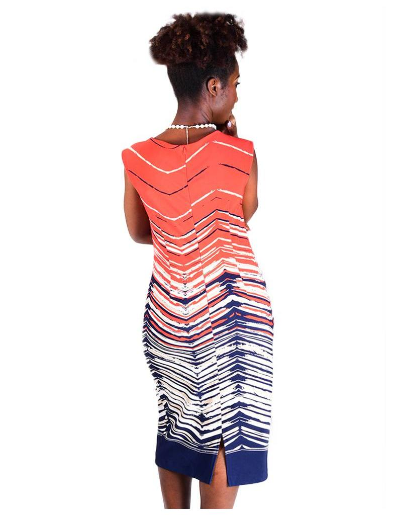 Printed Sleeveless Dress With Neck Pleats