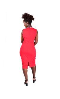 Sleeveless Sheath Dress Horizontal Pleats
