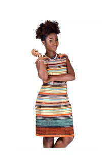 Printed Dress with Thin Belt & Darts At Neck