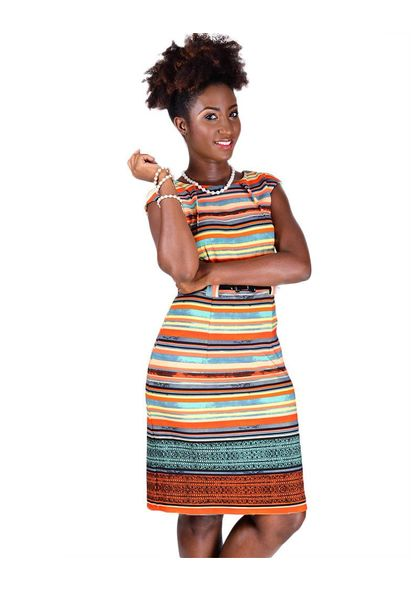 Printed Dress with Thin Belt & Darts At Neck