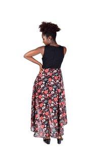 Printed High Low Wrap Bottom Chiffon Dress