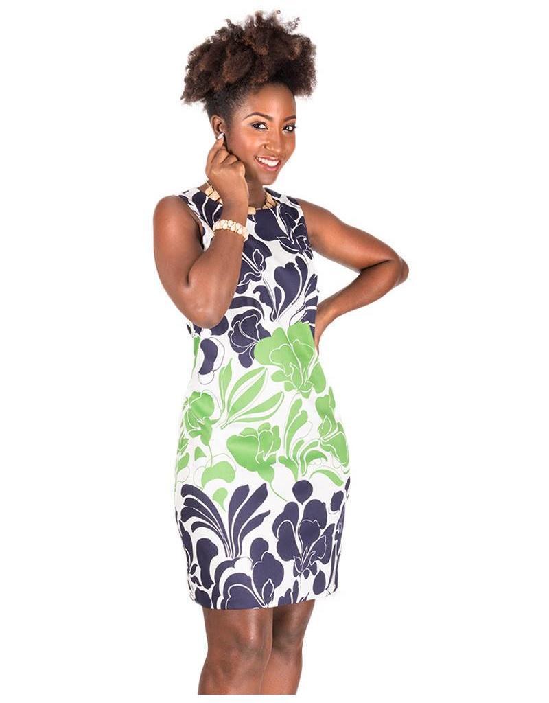 Printed Stretch Cotton Sheath Dress