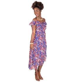 Chiffon Strappy Printed Ruffle Dress