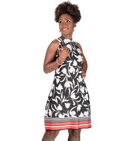 IDA-Printed Sleeveless Dress with Splits
